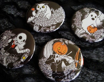 "Jack-o-Lantern, Ghost, Skeleton & Owl 2.25"" Pinback Button - Halloween, Kawaii"
