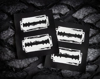 Razor Blades Screen print Sew-on Patch Set - Goth Punk