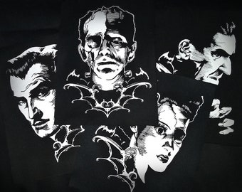 Icons of Horror Sew-on Patch Packs - vincent price, dracula, frankenstein, bride of frankenstein