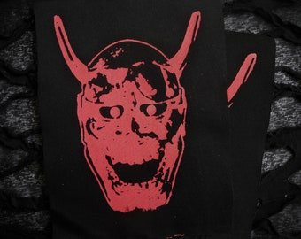 Japanese Hannya Mask Screen print Sew-on Patch - Asian Goth