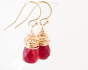 Red Chalcedony Earrings - Wire Wrapped Earrings - Red Gold Earrings - Red Gemstone Earrings - Gold Wire Wrapped Earrings - Valentine Gift