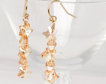 Cristal Swarovski étoile boucles d'oreilles - Boucles d'oreilles étoile or - boucles d'oreilles fêtes - nouvel an - vacances cadeau boucles d'oreilles - Boucles d'oreilles étoiles scintillants