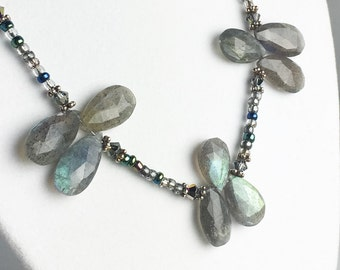 Labradorite Collier - Collier de pierres précieuses gris - argent Labradorite Collier - Collier de perles grise