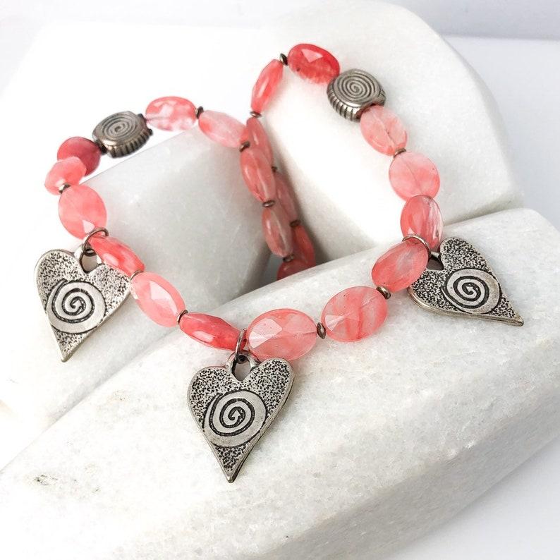 Pink Heart Necklace Cherry Quartz Necklace Gemstone Heart Necklace Pink Silver Heart Pewter Heart Necklace Silver Heart Necklace