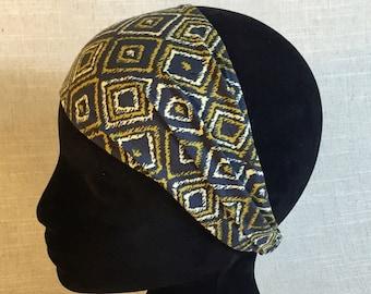 Cotton Fabric Headband   Navy/Gold Ikat Diamond   Yoga Head Wrap Wide Boho Headband Wide Yoga Headband Womens Headband Workout Headband OOS