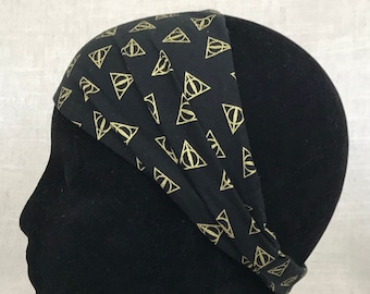 Fabric Headband   Deathly Hallows    5 Dollars from this item will go to the Trevor Project Wide Cotton Headband Deathly Hallows Unisex Gift