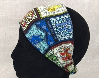 Cotton Fabric Headband | Hogwarts House Stained Glass |  5 Dollars from this item will go to the Trevor Project Harry Potter Gift Bandana