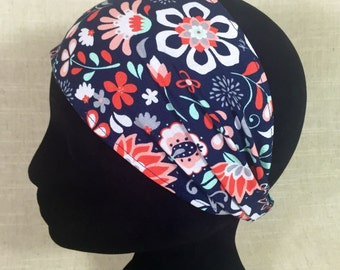 Red Navy and White Flowers    Floral Womens Headband Cotton Fabric Head Wrap Flower Headbands for Women Yoga Boho Wide