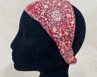 Boho Headband   Red Medallion   Cotton Fabric Headbands for Women Head Wrap Yoga Headband Floral Festival Pregnancy Activewear Fitnes
