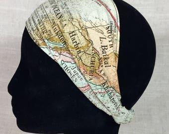 Womens Headband- Map Print- Yoga Headband Gift for Traveler Boho Headbands for Women Workout Headband Teacher Gift Ideas Yoga Wrap Head