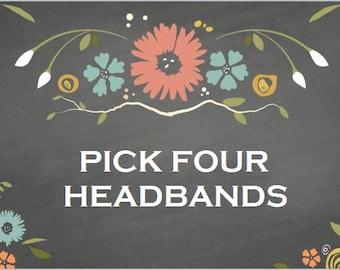 Pick 4 Headbands   Fabric Headband   Womens Headband   Wide Headband   Boho Headband   Cotton Headband   Yoga Headband   Running Headband
