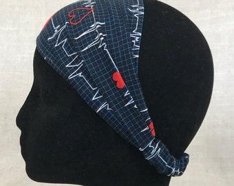 Womens Headband | Navy Heartbeat | Gift for Her Cotton Fabric Headband for Women Head Scarf Wide Headband Head Wrap Nursing Student