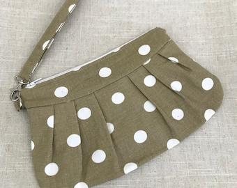 Tan and  white polka dot Clutch/Wristlet