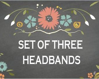Pick 3 Headbands   Headband Set Cotton Fabric Bandana Workout Head Wrap Headbands for Women Unisex Gift Ideas Mens HEadband