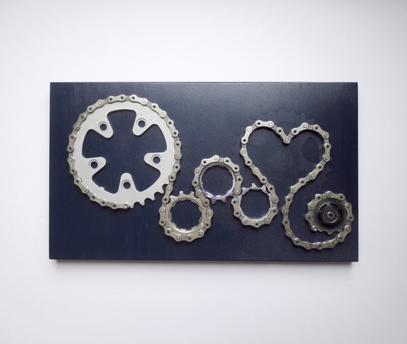 Recycled Bike And Reclaimed Wood Wall Art Bicycle Lovers Art Etsy