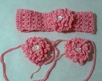 crocheted barefoot baby sandals and headband set