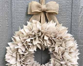 Beige Wreath - Felt Wreath - Rag Wreath - Large Wreath - Tan Wreath - Farmhouse Wreath - Summer Wreath - Fall Wreath - Neutral Wreath