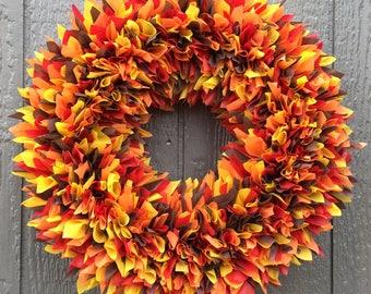 Fall Wreath - Autumn Wreath - Multicolor Wreath - Weatherproof Wreath - Indoor Outdoor Wreath - Door Wreath - Outdoor Wreath - Leaves Wreath