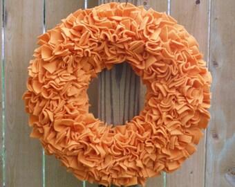 Fall Wreath - Autumn Wreath - Pumpkin Wreath - Orange Wreath - Fleece Wreath - Door Wreath - Rag Wreath - Summer Wreath - Halloween Wreath