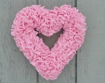 Valentine's Wreath - Pink Heart Wreath - Baby Girl Wreath - Fleece Wreath - Pink Wedding Decor - Spring Wreath - Door Wreath - Rag Wreath