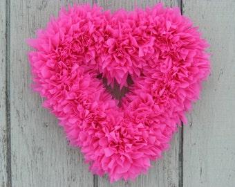 Pink Heart Wreath - Valentine's Wreath - Baby Girl Wreath - Baby Shower Decor - Outdoor Wreath - Door Wreath - Wedding Decor