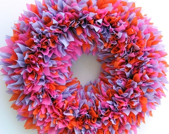 Summer Wreath - Spring Wreath - Outdoor Wreath - Multicolor Wreath - Door Wreath - Indoor Outdoor Wreath - Luau Decor - Waterproof Wreath