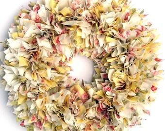 Spring Wreath - Summer Wreath - Shabby Wreath - Yellow Wreath - Cottage Wreath - Door Wreath - Rag Wreath - Floral Wreath - Baby Girl Wreath