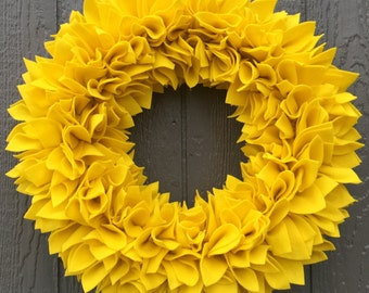 Yellow Wreath - Felt Wreath - Rag Wreath - Large Wreath - Bright Wreath - Winter Wreath - Spring Wreath - Flower Wreath - Door Wreath