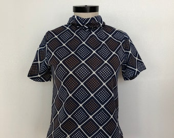 Vintage Navy White and Brown Short Sleeve Mock Turtle Neck Print Shirt Size S/M