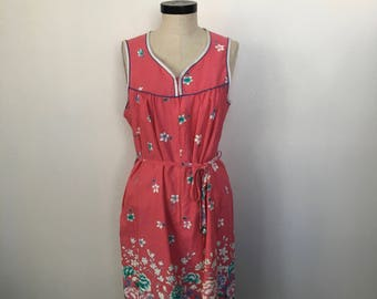 Vintage Floral Sleeveless Casual Summer Dress Size M c. 1965