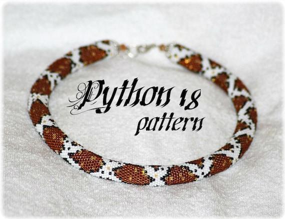 Python Schlange sking Perlen häkeln Seil Halskette Muster | Etsy