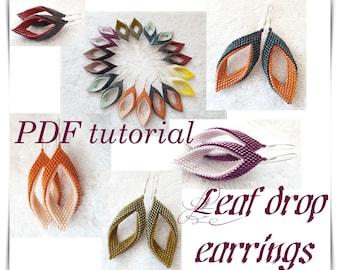 Leaf drop earrings Beading Pattern PDF tutorial twisted peyote stitch technique digital tutorial