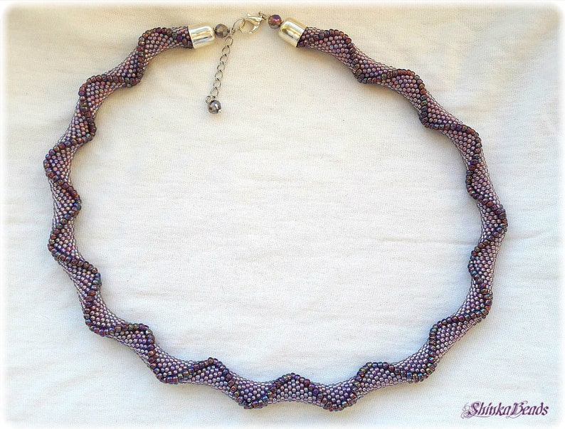 Purple violet rainbow seed bead crocheted necklace with relief