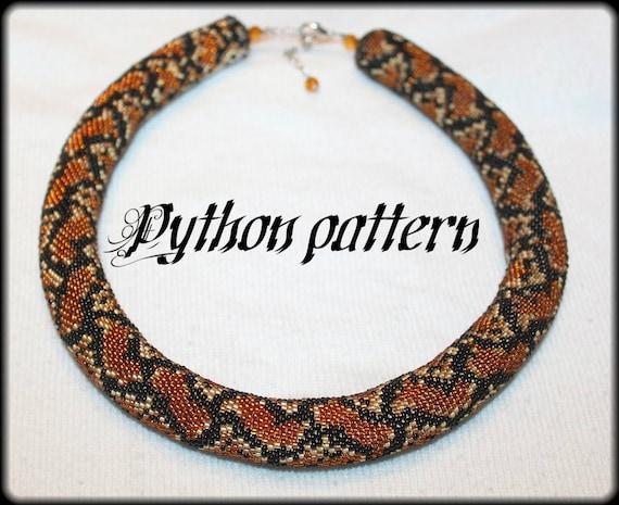 Python Snake Skin Bead Crochet Rope Necklace Pattern Etsy