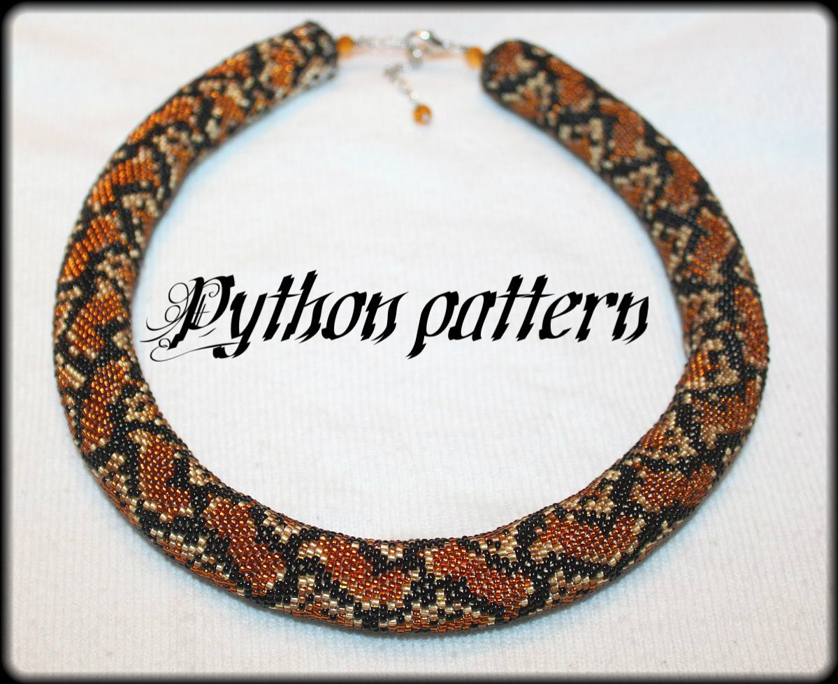 Python snake skin bead crochet rope necklace pattern from ...