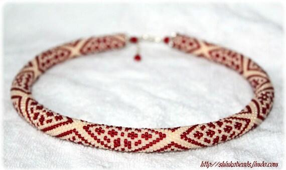 Wunderschöne Muster verziert Perle häkeln Halskette Creme | Etsy