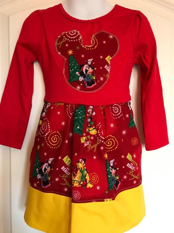 Minnie Mouse Christmas Dress.Girls Disney Christmas Dress Mickey Christmas Dress Minnie Christmas Dress Mickey Mouse Dress Minnie Mouse Christmas Party Dress