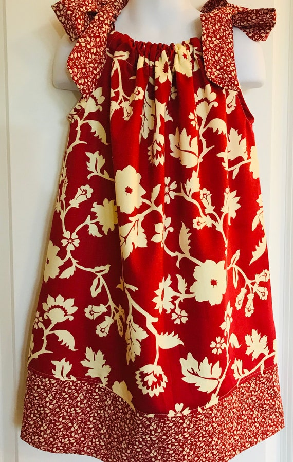 Girls Hawaiian Dress Floral Swim Cover Luau Party Dress Red Flowered Dress Tropical Beach Luau Birthday Lilo Outfit