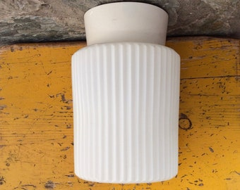 Philips mid-century flush mount ceiling light fixture, ceiling lamp, wall light. Satinated ribbed glass shade; off-white bakelite base.