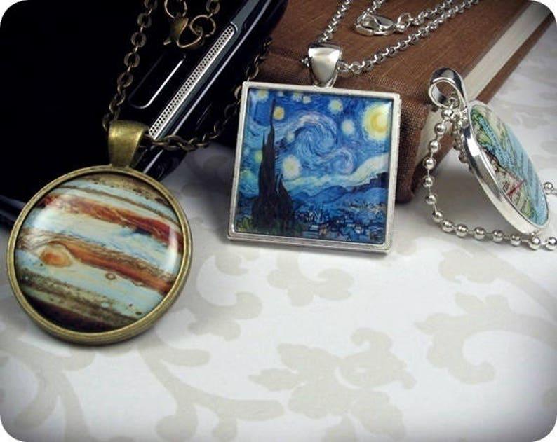 Owl Art Necklace Resin Pendant Owl Art Collage Resin Charm Round Bronze Owl Gift 034RB Gift For Bird Lover Gift Under 20