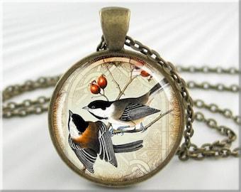 Chickadee Art Necklace, Chickadee Pendant, Bird Pair Picture Charm, Bird Lover Gift, Round Bronze, Bird Watcher Gift 041RB