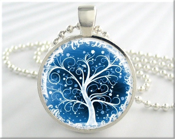 Tree Of Life Pendant Winter Snow Jewelry Resin Necklace