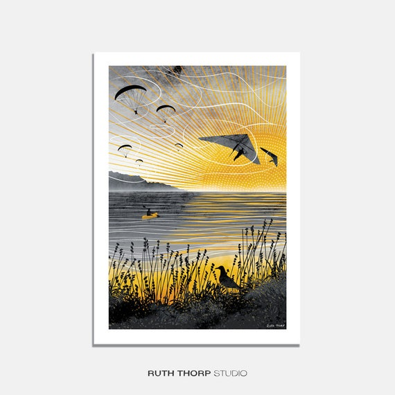 ec45ce845ff Sunset Flight Art Print   paragliding   hang gliding   summer