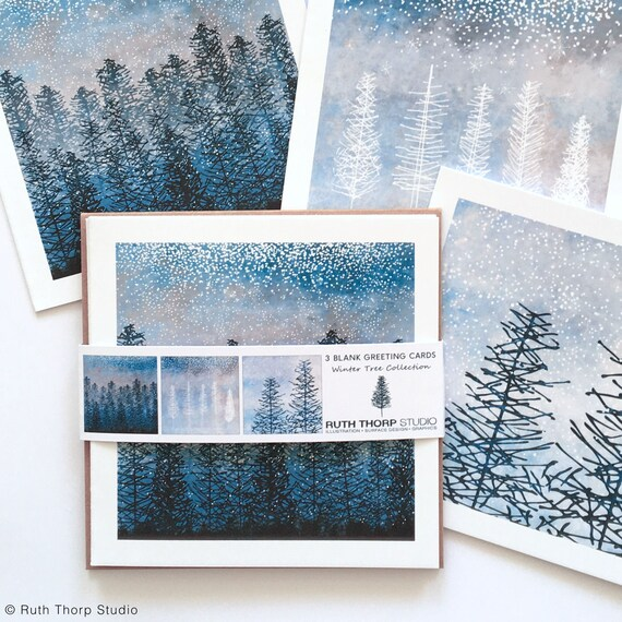 Winter Trees Collection Pack of 3 Greeting Cards