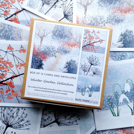 Box of 12 Small Cards - Winter Garden Collection
