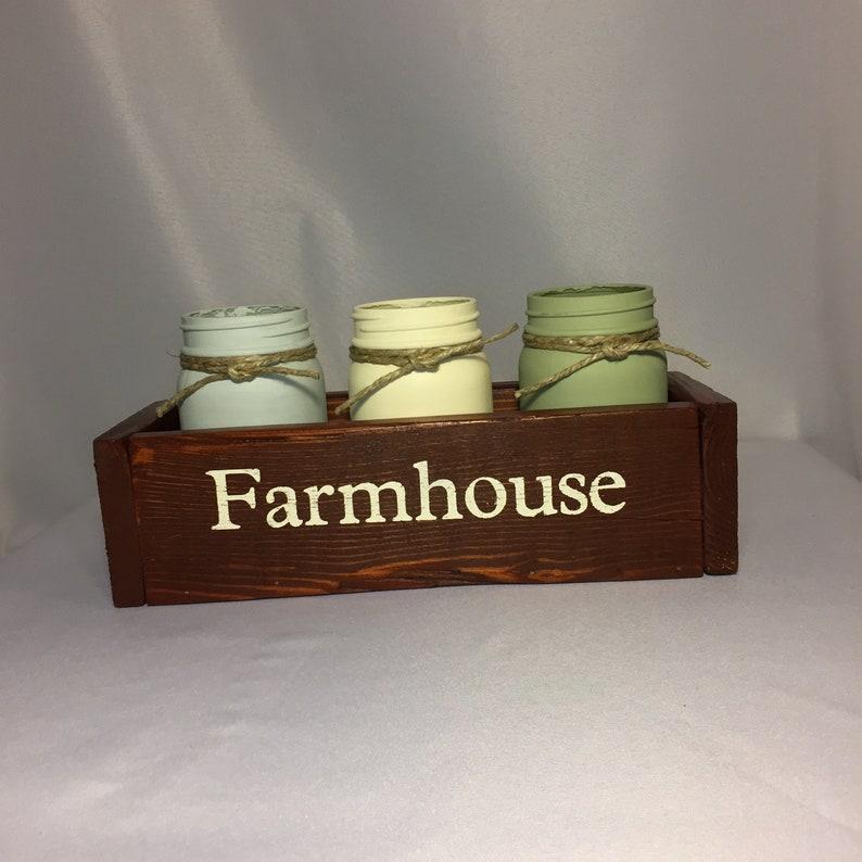 Farmhouse mason jar set Farmhouse decor Kitchen decor image 0