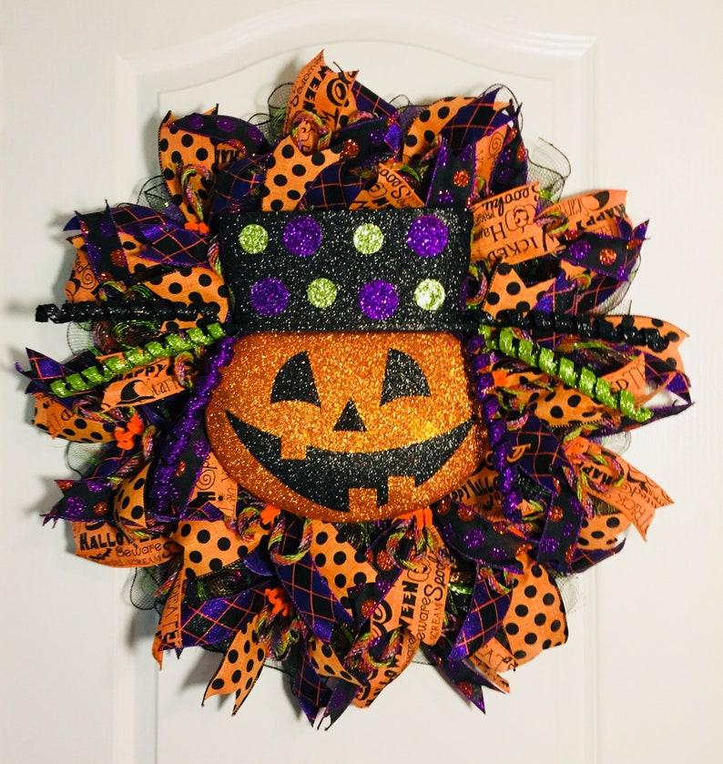 Halloween Wreath Halloween Pumpkin wreath Fall pumpkin image 0