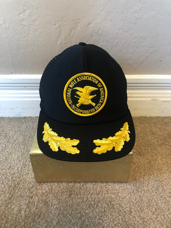 537bc04abfd Vintage NRA Netted Trucker Snapback Hat Black Gold USA