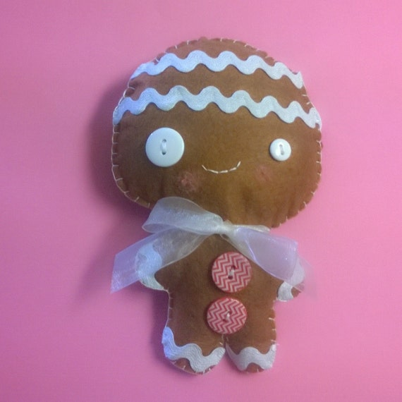 Kawaii Gingerbread Man Boy Plush Stuffed Animal Doll Brown Etsy