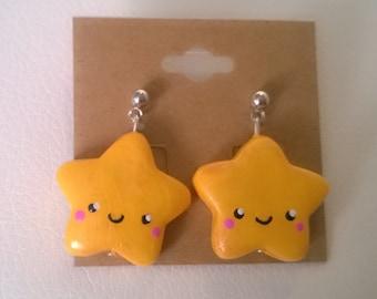 Yellow Kawaii Star Earrings Ooak Jewelry